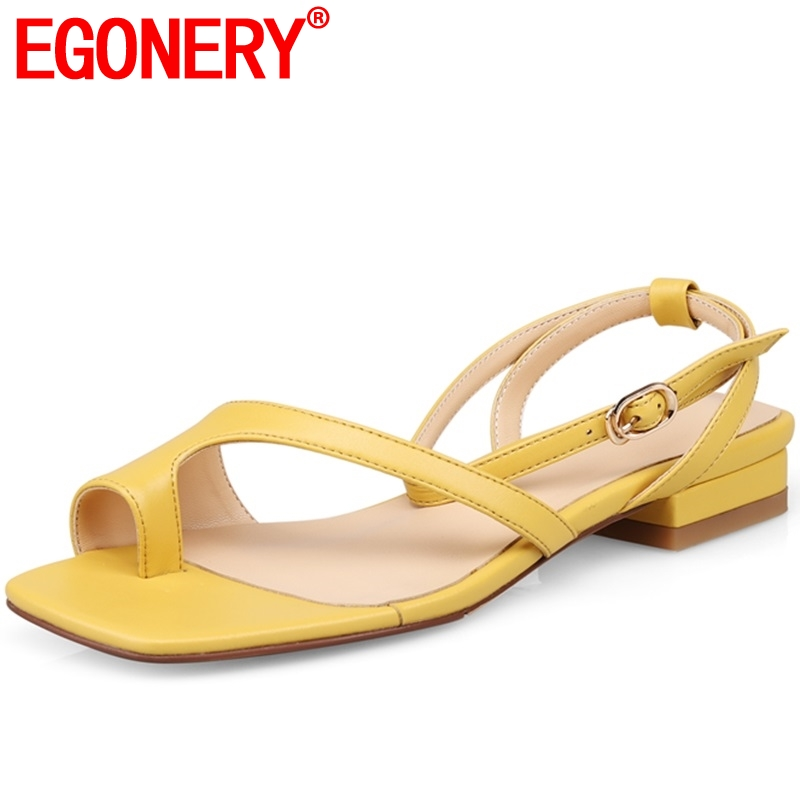 EGONERY Student comfort genuine cow leather woman sandals 2019 yellow black apricot summer casual Open toe
