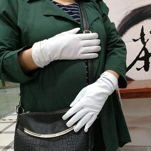 Image 3 - Găng Tay Da Găng Tay Da Cừu Trắng Nữ Mẫu Thun Mỏng Cashmere Lót Weatherization Tay Bộ Miễn Phí Vận Chuyển 2018