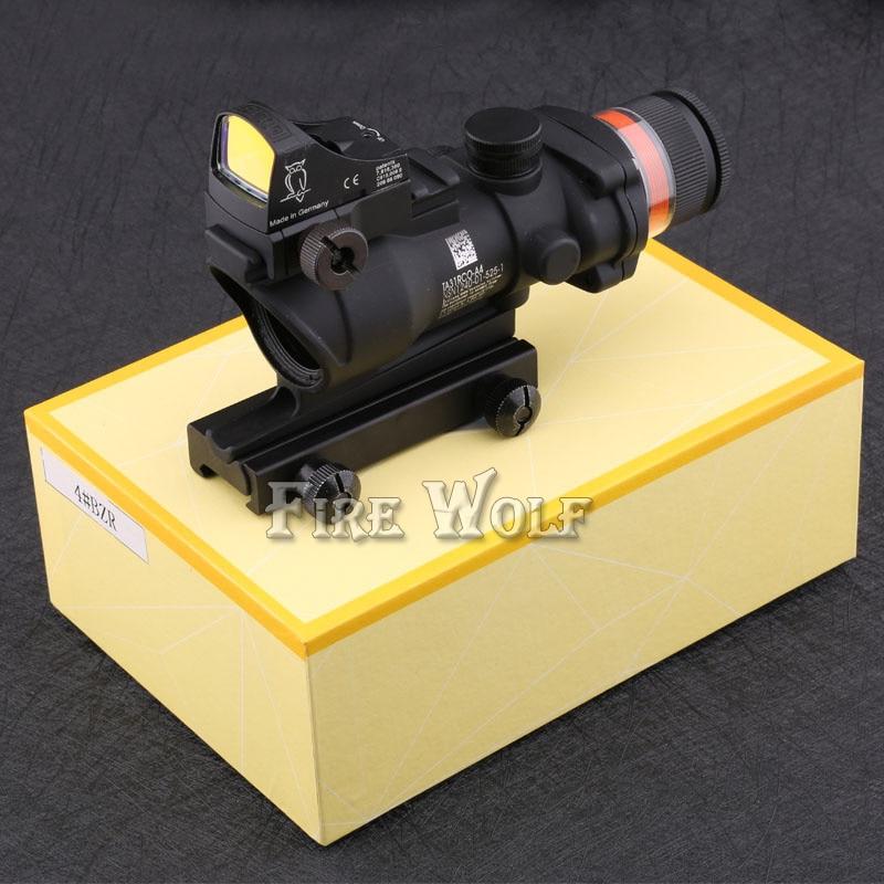 Тактические хороший стиль прицелом acog 4x32 прицел красный Оптическое волокно и doc красный точка зрения область Охота тактический комбо