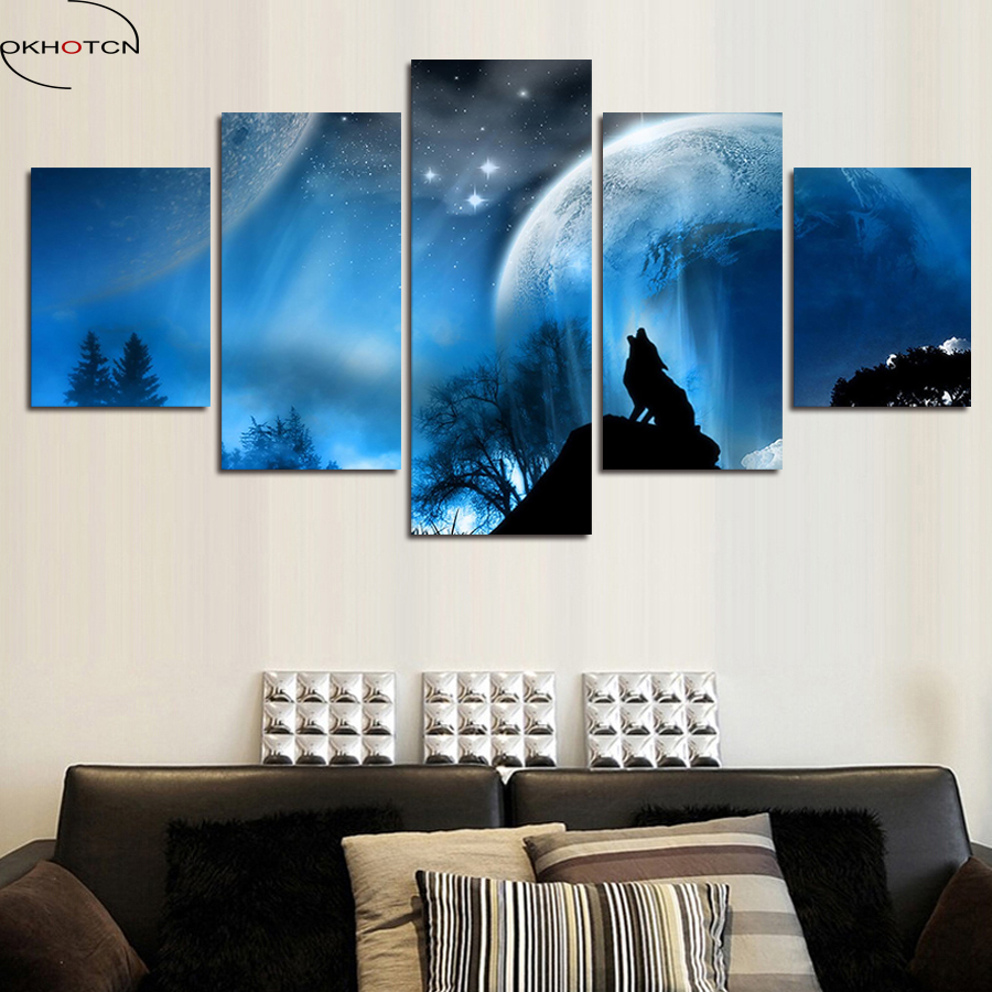 Luxury <font><b>Elegant</b></font> 5PCS Canvas Modern Wall Painting Night Wolf Starry Sky <font><b>Home</b></font> <font><b>Decor</b></font> Art Picture Paint On Canvas Prints canvas art