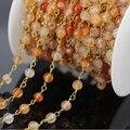 Оптовая продажа 5 м сердолик агат граненные круглый бусины цепи, Позолоченные провода обернуты розария цепи ожерелье DIY ювелирных изделий