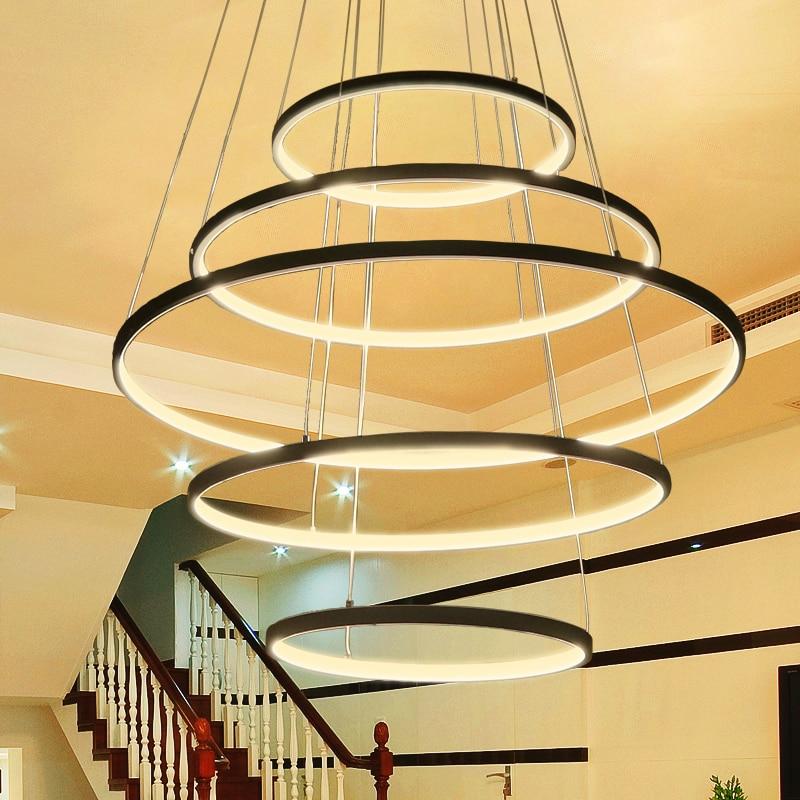Nouveau Cercle Anneaux Moderne LED Pendentif Lumières Pour Salon Chambre 5 4 3 2 Niveaux Led Pendentif Lampe De Mode appareils D'éclairage d'accueil