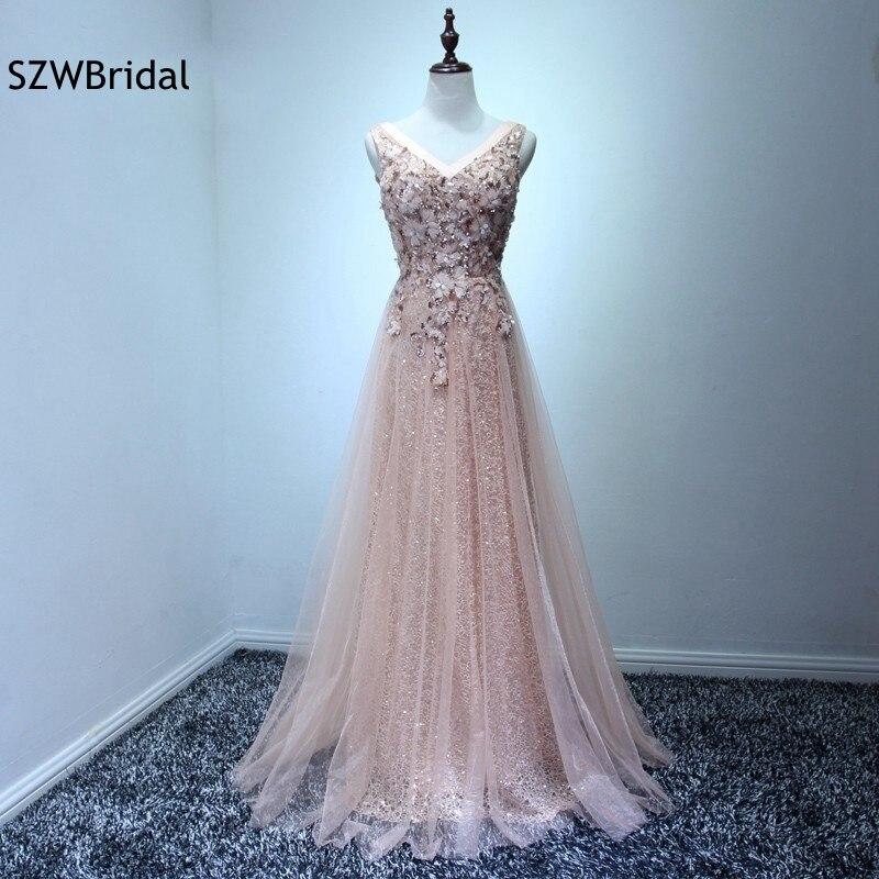 Vestido de festa V neck A-Line White Chiffon Tulle Prom dresses 2017 vestidos de gala Prom dress vestido longo ...