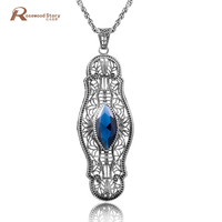 Large Silver Pendants for Best Friends Retro Healing Crystals 925 Sterling Silver Jewelry Blue CZ Rhinestone Labradorite Pendant