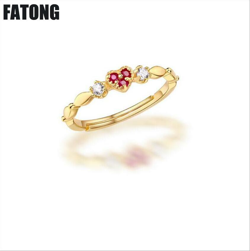 Original Natural Ruby Heart-shaped Jewelry Womens 925 Silver Ring. J029