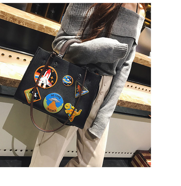 Women Rocket Space Tote Bag Pu Leather Handbag 2018 Autumn And Winter Black Blue Badge Lady Hand Bag Casual Single Shoulder Bag 8