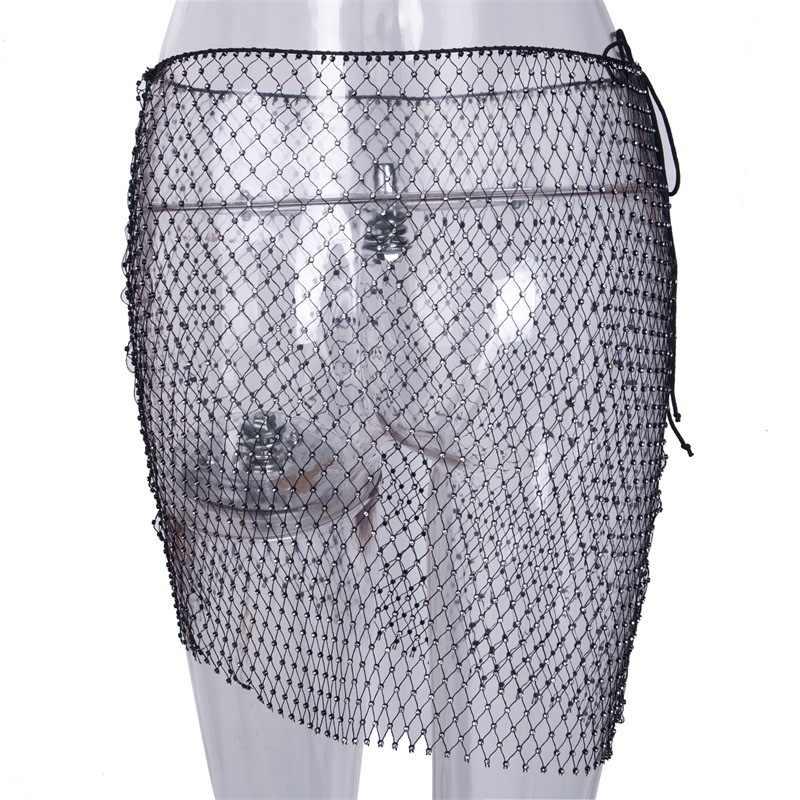 ... Beyprern Sexy Crystal Diamonds Mini Skirt Women Glitter Hollow Out  Sequins Beach Skirt Luxury Party Night a020c8503a6d