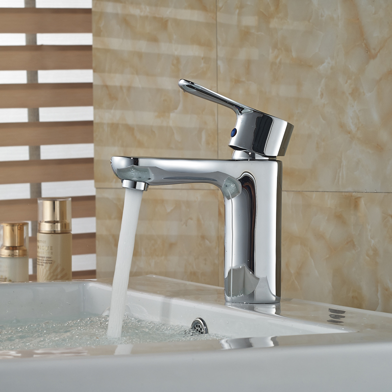 ФОТО Free Shipping Bathroom Vanity Sink Faucet Single Handle Brass Hot and Cold Water Mixers Chrome Finish