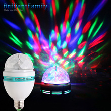 3W E27 Colorful RGB LED Rotating Stage DJ Disco Crystal Color LED Bulb Auto Stage Bar Party Effect Light Bulb Mini Decoration