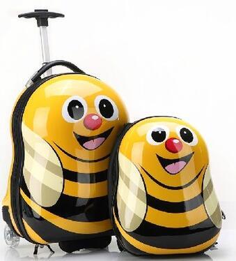 Viaggi valigia Trolley Da Viaggio valigia bagagli del capretto per i bambini gommati caso Dei Bambini viaggi di Rotolamento Caso con Zaino per i bambini