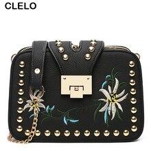 CLELO Retro Flower Chain Lock Small Flap Bag Women Phone Holder Shoulder Crossbody Bags Female Messenger Bag Girl bolsa feminina