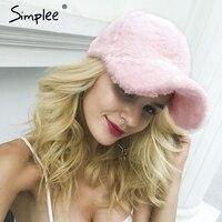 Simplee Winter Pompom Pink Suede Baseball Cap Women Autumn Casual Streetwear Black Hat Cap 2017 Elegant