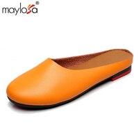 MAYLOSA D'été Pantoufles En Cuir Véritable Chaussures Femmes demi pantoufles flip flops Main Confortable Femmes Plat Sandales Taille 43