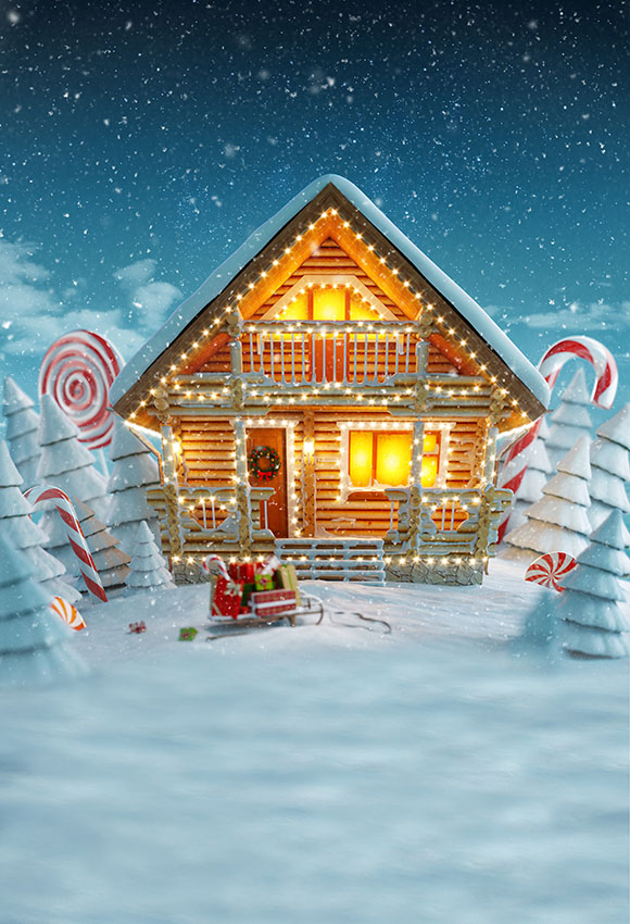 Christmas Gingerbread House Background.Christmas Gingerbread House At Night Digital Backdrop