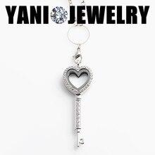 10 шт. / lot цепочки в форме сердца ключ медальон кулон ожерелье горный хрусталь стекло гостиной память плавающий медальон подвески-талисманы
