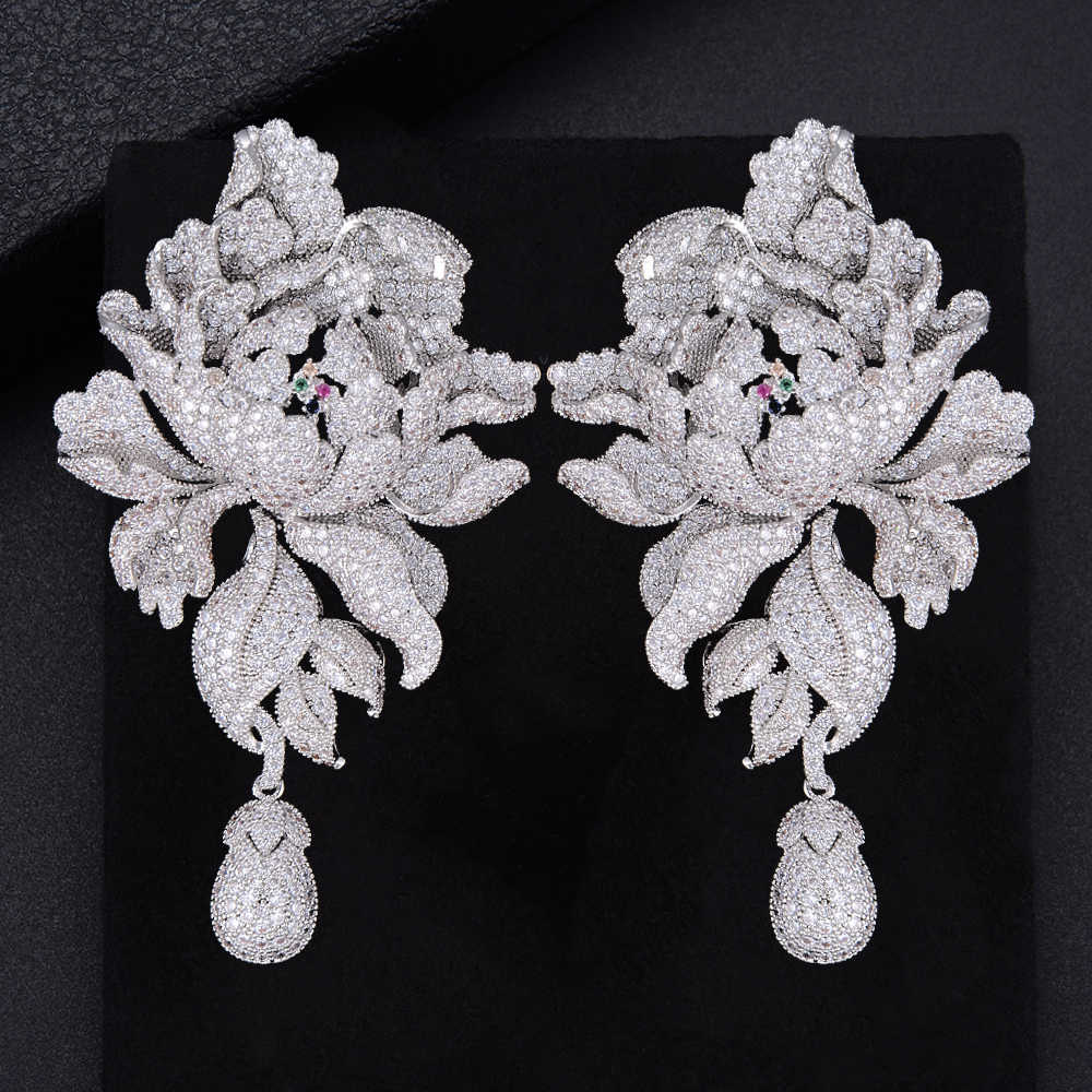 GODK 76mm Luxury Peony Flower Blossom Cubic Zirconia Women Statement Long Drop Earring Wedding Party Bridal Fringed Jewelry Gift