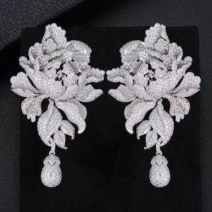 Image 1 - GODK 76mm Luxury Peony Flower Blossom Cubic Zirconia Women Statement Long Drop Earring Wedding Party Bridal Fringed Jewelry Gift