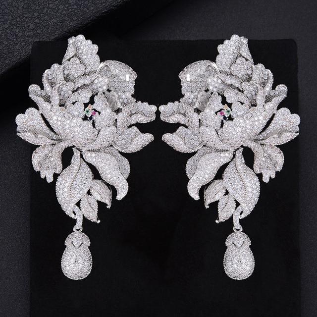 GODK 76mm Luxury Peony Flower Blossom Cubic Zirconia Women Statement Long Drop Earring Wedding Party Bridal Fringed Jewelry Gift