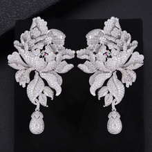 GODK 76mm 럭셔리 모란 꽃 꽃 큐빅 지르코니아 여성 성명 롱 드롭 귀걸이 웨딩 파티 신부 드리 워진 쥬얼리 선물