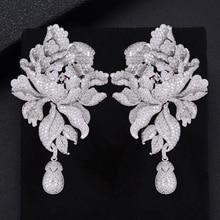 Godk 76Mm Luxe Pioenroos Bloesem Zirconia Vrouwen Verklaring Lange Drop Earring Wedding Party Bridal Omzoomd Sieraden Gift