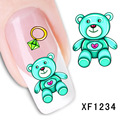 teddy bear design Water Transfer Nails Art Sticker decals girl women manicure tools Nail Wraps Decals wholesale XF1234