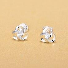 Женские серьги с цирконием кубической огранки серебряные ювелирные