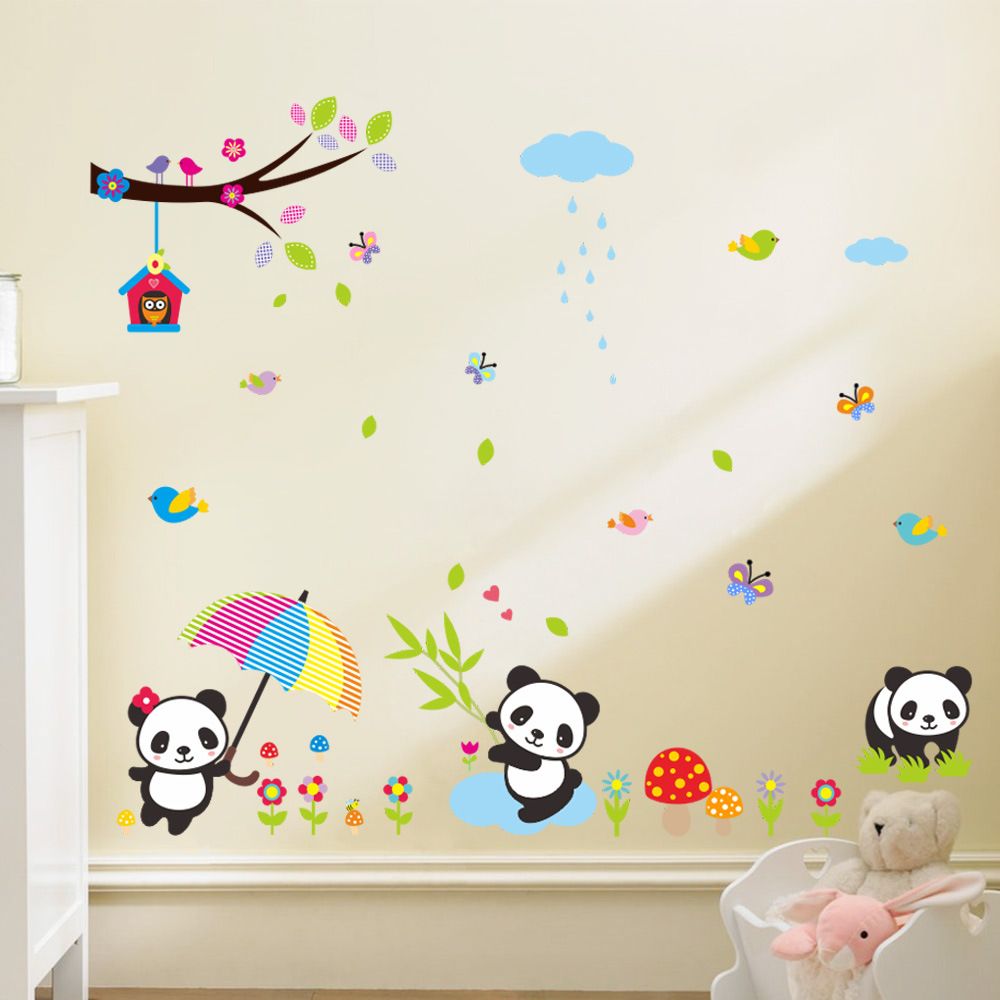 110*130cm 3d Panda Bamboo Owl Removable Wall Stickers Home Decor Living  Room Bedroom For