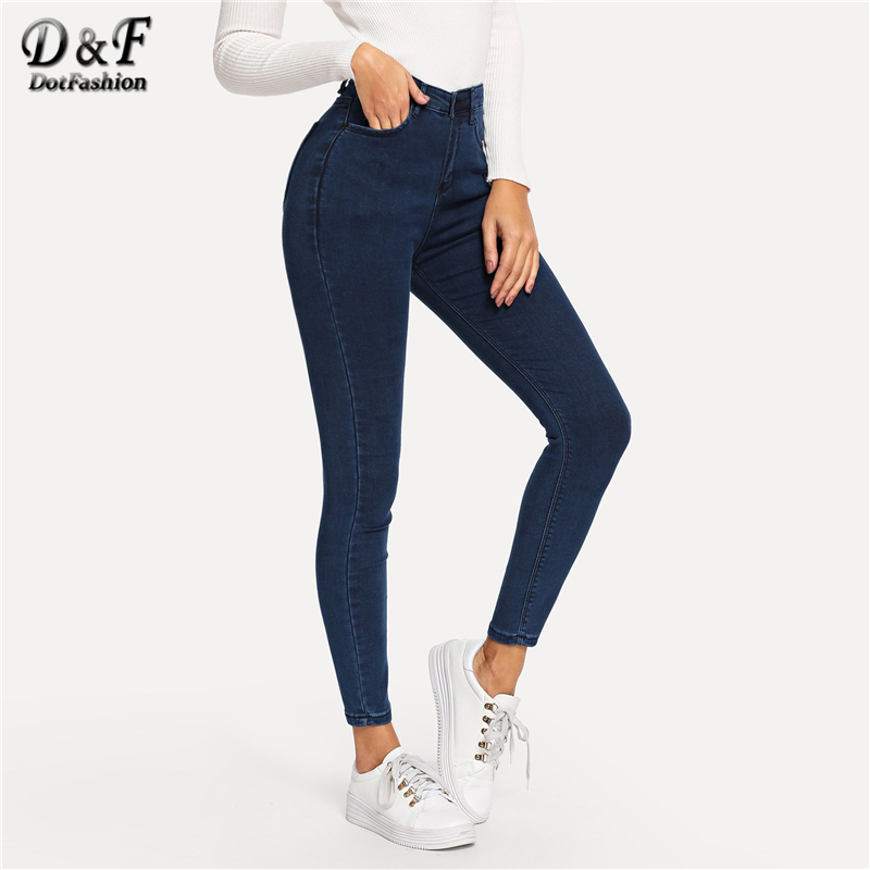 Dotfashion Navy Plain Skinny   Jeans   Woman 2019 Spring Autumn Casual High Waisted   Jeans   Skinny Pants Button Fly Denim Trousers