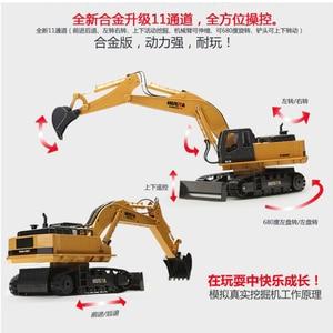 Image 2 - HuiNa אלחוטי שלט רחוק חשמלי סגסוגת חופר דחפור 11 ערוצים 1:16 2.4Ghz ילדי צעצוע רכב מהנדס רכב משאית