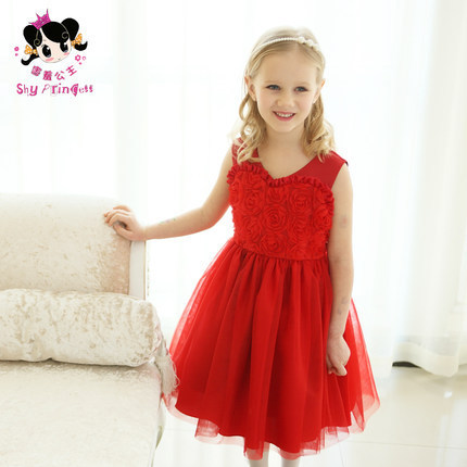 Chirstmas,France Romantic Rose Style, 2014 new girl's princess wedding dress Children's /baby new year party ball flower dress