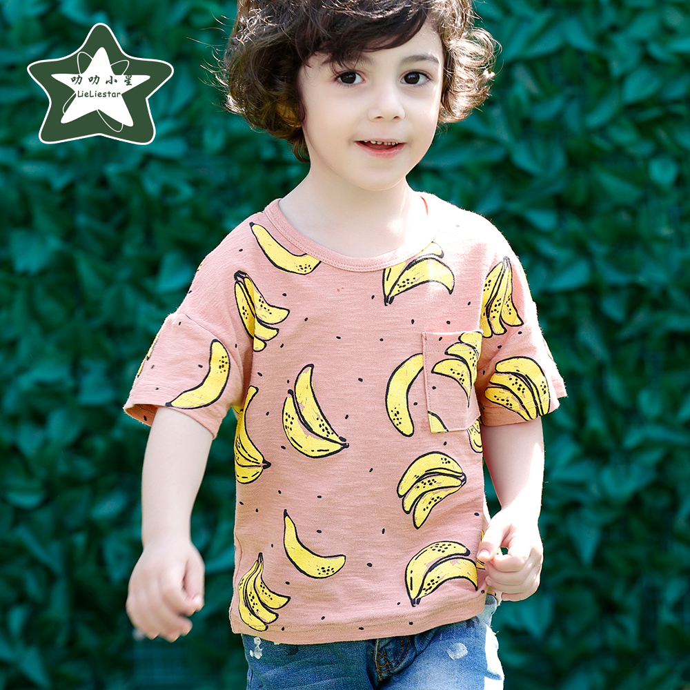 93e4584ada5 Fashion Banana Printed T Shirt For Boy Cotton Kids T shirts Summer Children  T Shirts For Boys O neck Tops Short Sleeve Clothes-in T-Shirts from Mother  ...
