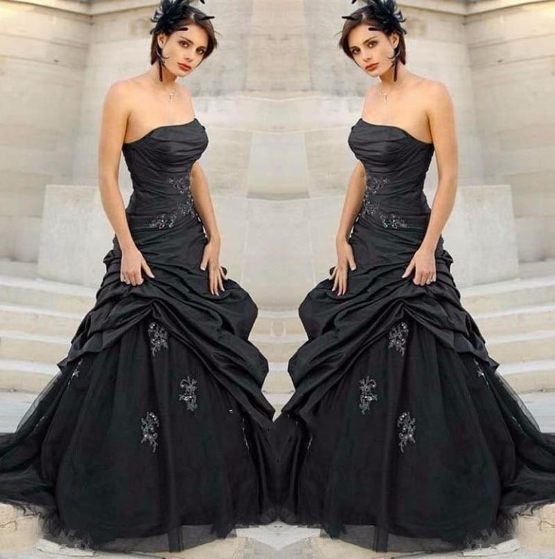 Popular black weding dress buy cheap black weding dress for Gothic wedding dresses cheap