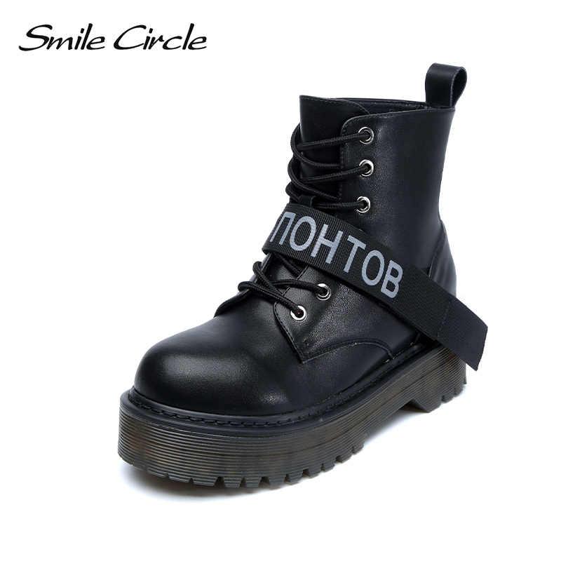 женские сапоги натуральная кожа брендовые Smile Circle, полусапожки на платформе танкетке Ботильоны,мартинсы женские ботинки на шнуровке,обувь зима женщины,размер 36-42