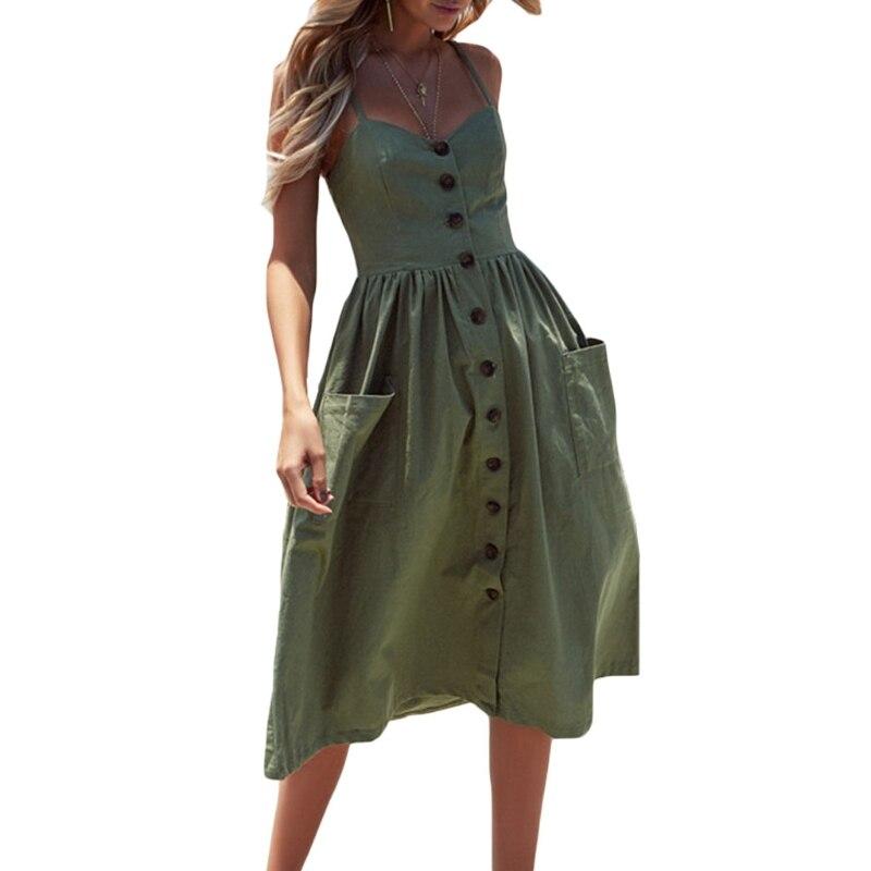 Striped Sexy Casual Summer Dress Boho Beach Pockets Sundress Elegant Daily dess