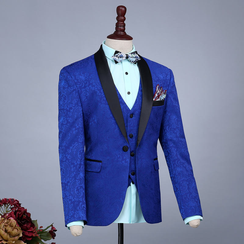 Men Slim Casual Navy Blue Groom Married Wedding Suits Set Passionate Male Printing Host Evening Party Clothing Stage Wear Dress