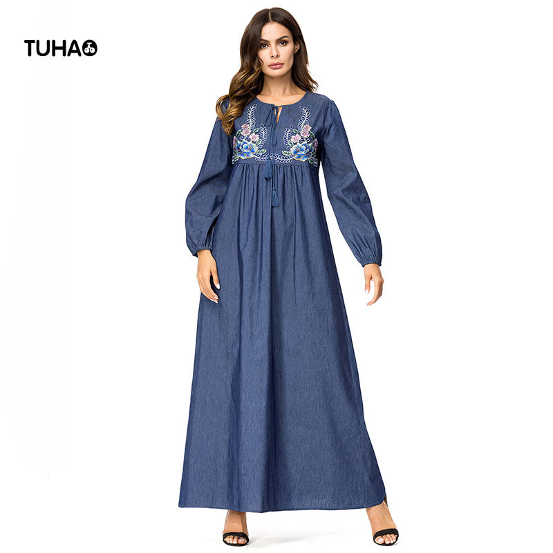 e3c3dcddbd5a TUHAO Fashion Long Robe Femme 2018 Autumn Maxi Dresses Loose Large Size  Women s Muslim Denim Dress For Ladies TA7267-in Dresses from Women s  Clothing on ...