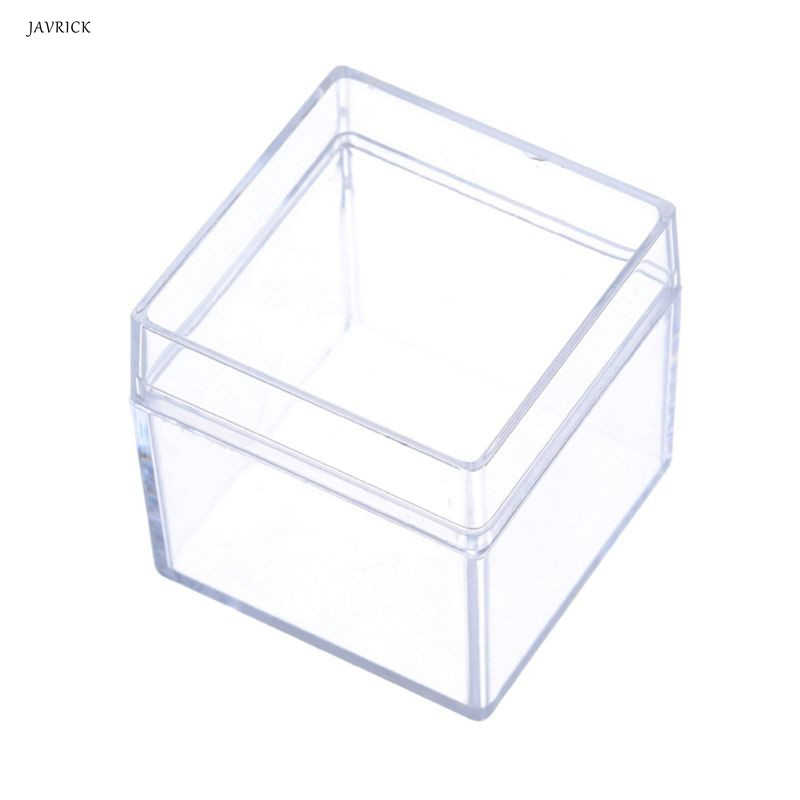 Crystal Clear Acrylic 5 Sided Jewelry Display Storage Box Case Square Cube Props Box For Ring Holder