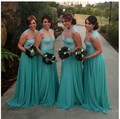 Aqua Bridesmaid Dresses Long Sheer Collar Lace Chiffon Beach Maid Of Honor Dress Turquoise african bridesmaids dresses