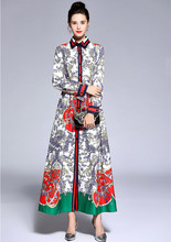 Italy style retro print belted long sleeve maxi dress 2018 Autumn runway vintage dress Fashion women lapel dress D540 eyes print belted dress