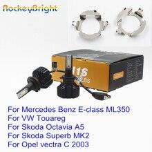 Rockeybright H7 LED Headlight Bulb Holder Adapter For Mercedes Benz ML350 headlamp for VW Touareg Skoda Octavia Superb