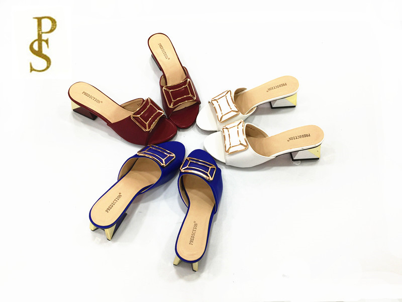 3a1e34e4dba4 High heel metal with buttons Ms. PU slippers summer good quality shoes-in  Slippers from Shoes on Aliexpress.com
