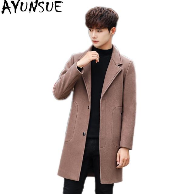 7d65ee2f425 AYUNSUE Korean Men s Coat Long Woolen Coat Man Jacket Black Single Breasted Mens  Coats Overcoats Abrigo Hombre Invierno KJ256