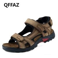 QFFAZ New High Quality Summer Men Sandals Genuine Leather Men Sandals Comfortable Men Shoes Fashion Plus