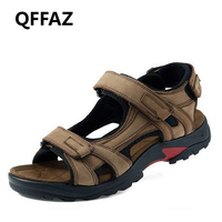 QFFAZ New High Quality Summer Men Sandals Genuine Leather Men Sandals Comfortable Men Shoes Fashion Plus