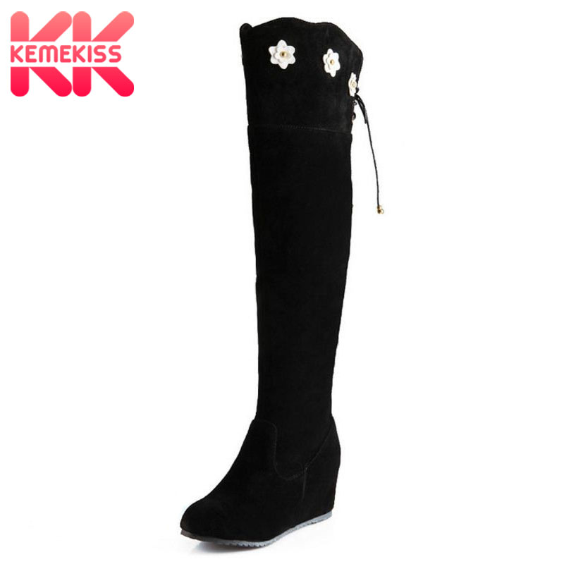 KemeKiss Women Wedge Over Knee Boot Snow Fashion Winter Warm Long Boots Riding Botas Masculina Quality Footwear Shoes Size34-43