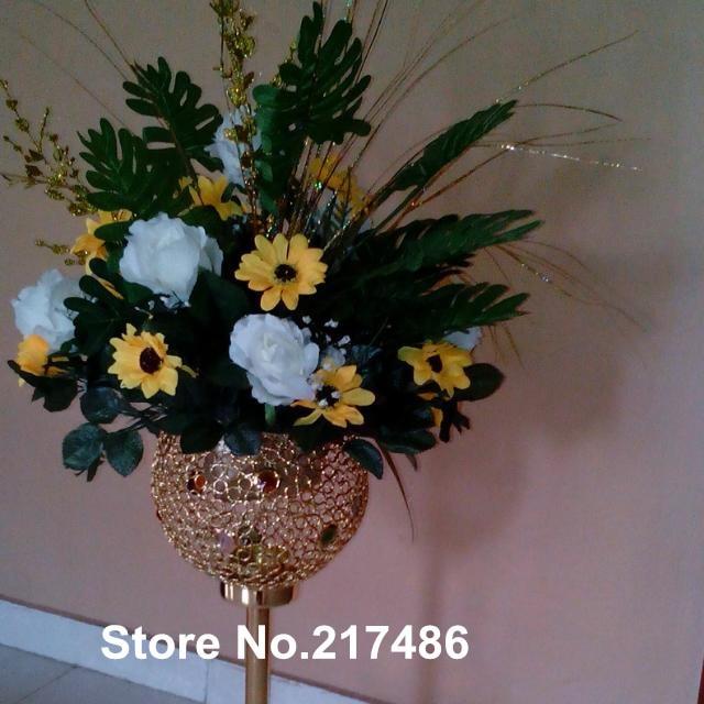 Wholesale Beautiful Tall Metal Flower Vase Acrylic Crystal Flower