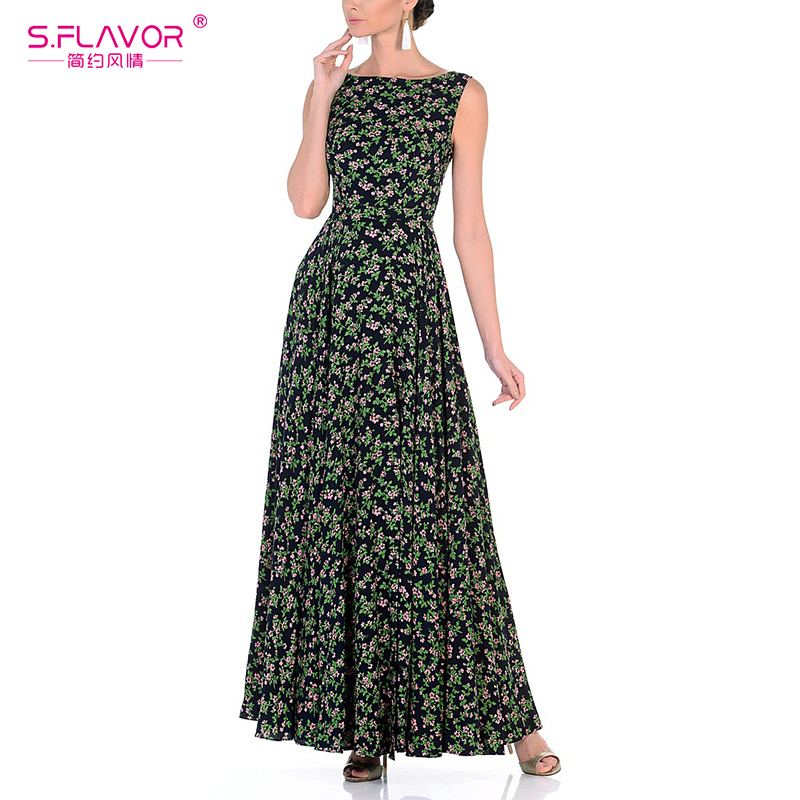 S.FLAVOR Women beach long dress 2018 Spring summer sleeveless printing vestidos Elegant backless waist loose dress sexy style