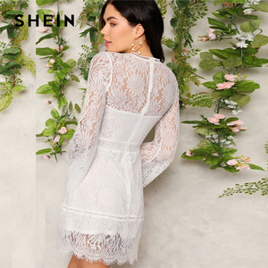 Image 2 - SHEIN Romantic Trumpet Sleeve Floral Lace Overlay Dress Women Clothes 2019 Spring Zipper Flounce Sleeve Mini Dress Party Dresses