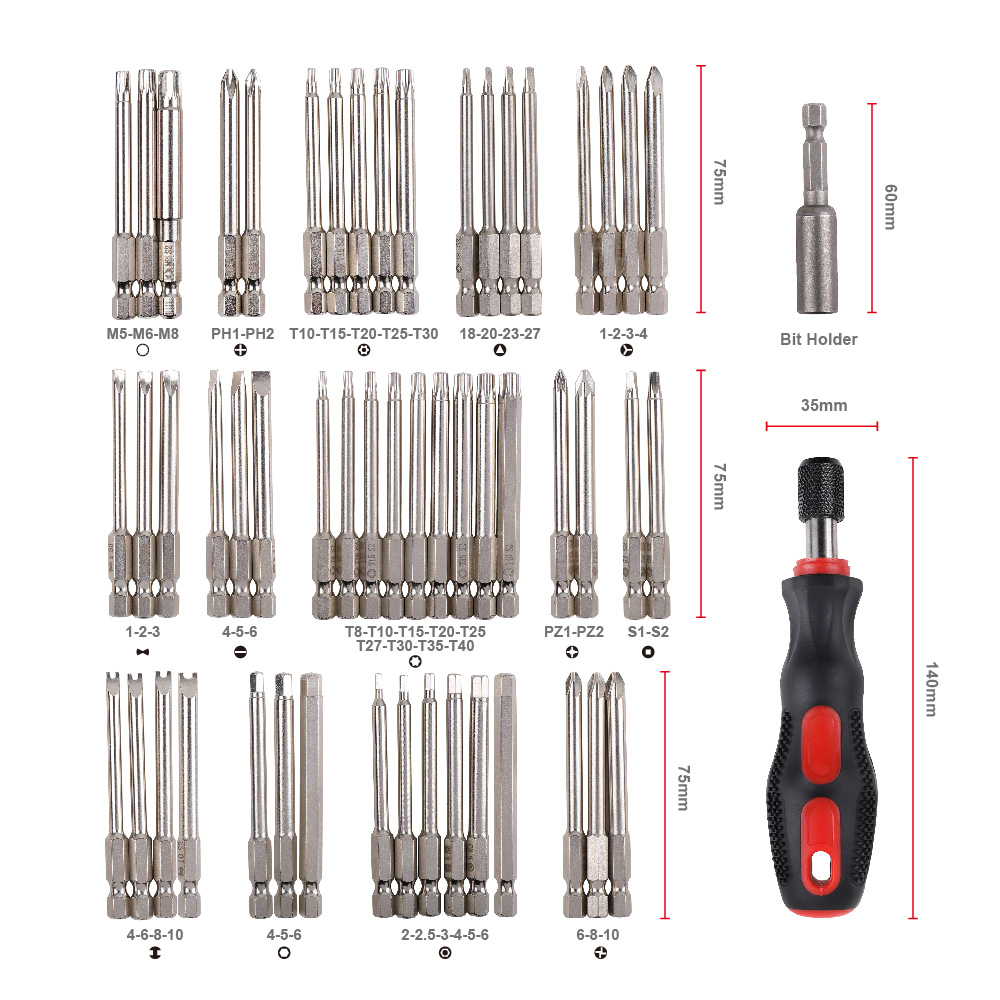 Image 2 - Julaihandsome 55PC Extra Long Bits Set S2 Screwdriver with Magnetic 75mm Length Tool Bag Packing-in Screwdriver from Tools