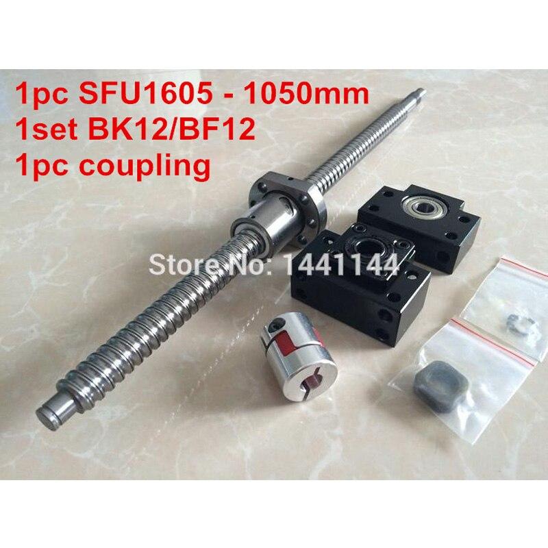 1pcs antibacklash ball screw 1605 - 1050mm end machined -C7+ BK/BF12  Support + 1pcs 6.35*10mm coupler1pcs antibacklash ball screw 1605 - 1050mm end machined -C7+ BK/BF12  Support + 1pcs 6.35*10mm coupler